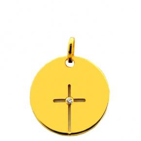 Médaille croix ajourée brillant