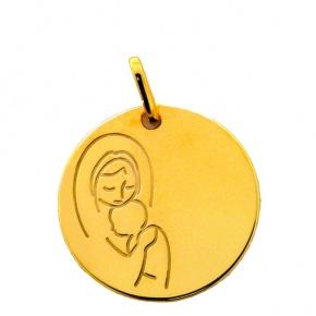 Médaille Vierge à l'enfant gravée